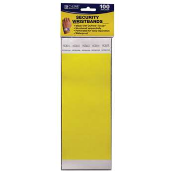 C Line Dupont Tyvek Yellow Security Wristbands 100Pk By C-Line