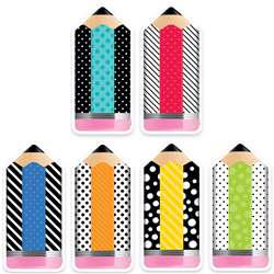 "6"" Striped/Spotted Pencils Cutouts Bold Bright De, CTP3283"