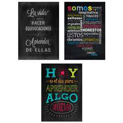 3Pk Spanish Inspire U Posters Chalk It Up, CTP8171