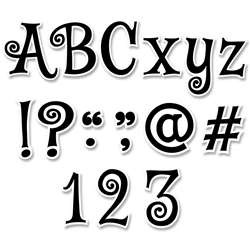 "Black Swirl 4"" Designer Letters Mystical Magical, CTP8655"