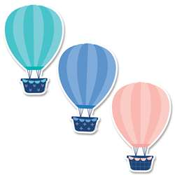 "6"" Designer Cut-Outs Hot Air Balloons Calm & Cool, CTP8666"