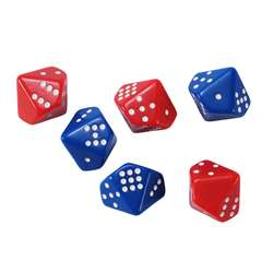 Subitizing Dice 6 Set 3 Red 3 Blue, CTU7399