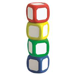 Magnetic Write-On Wipe-Off Dice Set Of 4 Small Dice In Assorted Colors By Learning Advantage