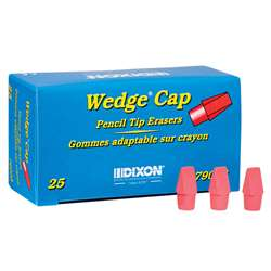 Wedge Pencil Cap Erasers Pink 25Pk, DIX79003
