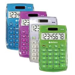 Handheld Eco Calculator Assorted, DTXDH60C4