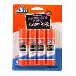 Elmers 4Pk School Purple Glue Sticks Disappearing , ELME543