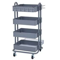 4-Tier Utility Rolling Cart Gray, ELR20702GY