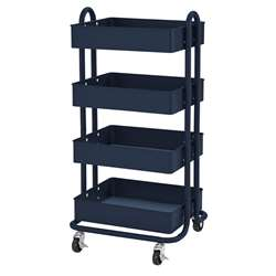 4-Tier Utility Rolling Cart Navy, ELR20702NV