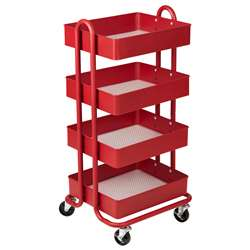 4-Tier Utility Rolling Cart Red, ELR20702RD