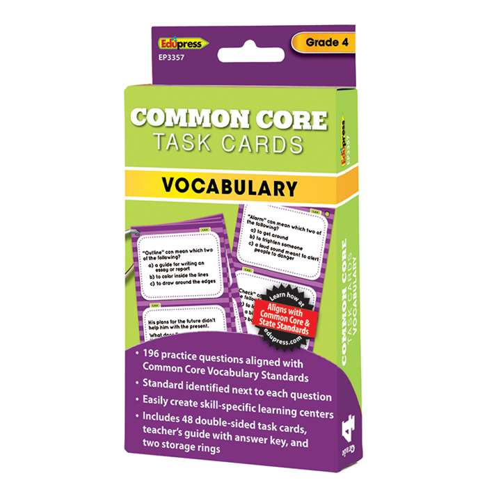 Shop Gr 4 Common Core Vocabulary Task Cards - Ep-3357 By Edupress