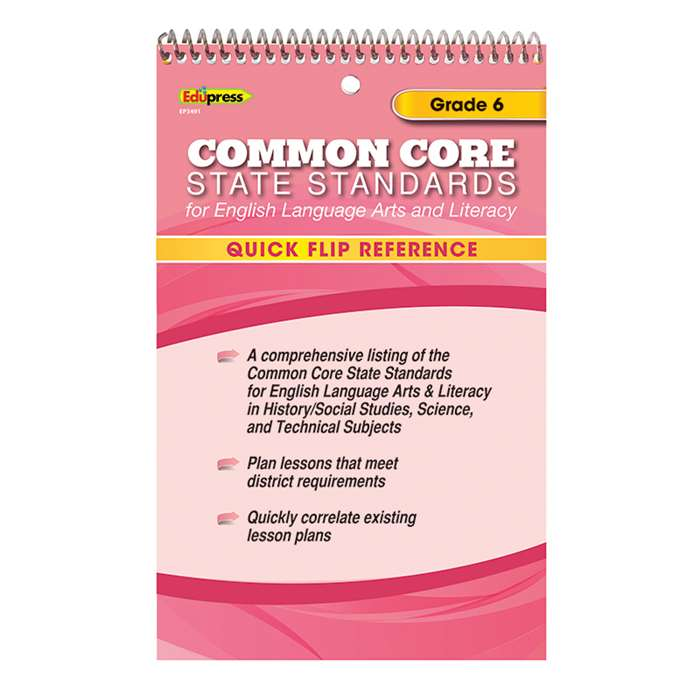 Quick Flip Reference For Common Core State Standards Gr 6 By Edupress