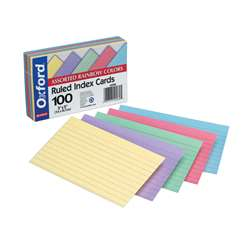 Assorted Ruled Commercial 100 Ct Index Cards 3 X 5 By Esselte
