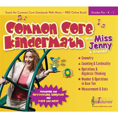 Common Core Kindermath With Miss Jenny & Friends Cd Book Set By Edutunes
