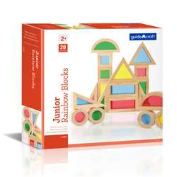 Jr Rainbow Blocks 20 Piece Set By Guidecraft Usa