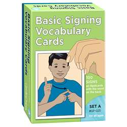Basic Signing Vocab Cards 100/Pk Set A 4 X 6 By Garlic Press