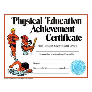 Certificate Physical Education 30Pk By Hayes School Publishing