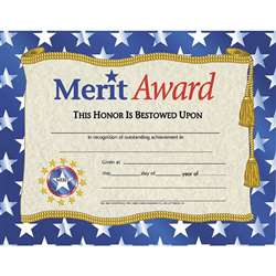 Certificates Merit Award 30/Pk W/ Stars 8.5 X 11 By Hayes School Publishing