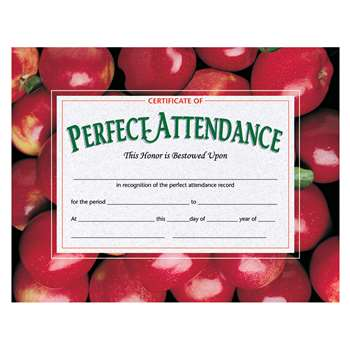 Certificates Perfect 30 Pk 8.5 X 11 Attendance W/ Apples By Hayes School Publishing
