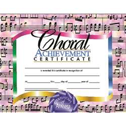 Certificates Choral 30/Set Achievement Certificate By Hayes School Publishing