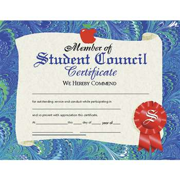 Certificates Student Council 30/Pk 8.5 X 11 By Hayes School Publishing