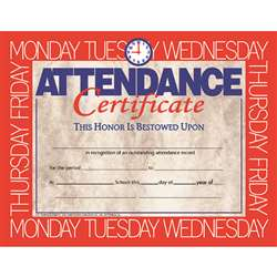 Certificates Attendance 30/Pk 8.5 X 11 By Hayes School Publishing