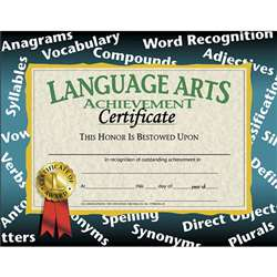Certificates Language Arts 30/Pk Achievement 8.5 X 11 By Hayes School Publishing
