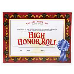 Certificates High Honor Roll 30/Pk Award 8.5 X 11 By Hayes School Publishing