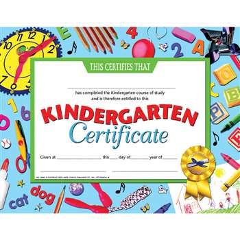 Kindergarten Certificate By Hayes School Publishing