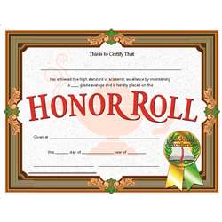 Certificates Honor Roll 30/Pk 8.5 X 11 Inkjet Laser By Hayes School Publishing