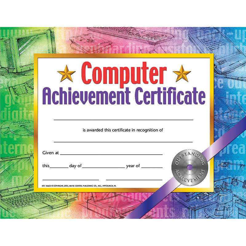 certificates computer set of 30 achievement certificate by hayes