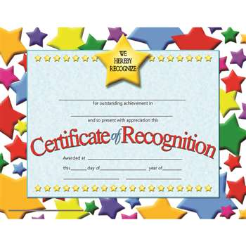 Certificates Of Recognition 30 Pk 8.5 X 11 Inkjet Laser By Hayes School Publishing