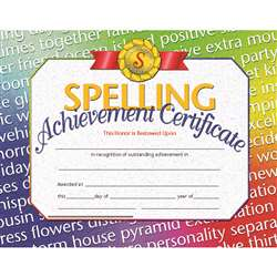 Certificates Spelling 30/Pk 8.5X11 Achievement Inkjet Laser By Hayes School Publishing