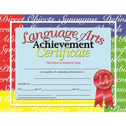 Certificates Language Arts 30/Pk 8.5 X 11 Inkjet Laser By Hayes School Publishing