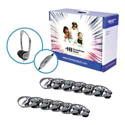 12-Pk Headphones W/ Volume Control Leatherette Ear Cushions By Hamilton Electronics Vcom
