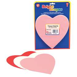 Tissue Shapes 180 6 Hearts In Red White & Pink By Hygloss Products