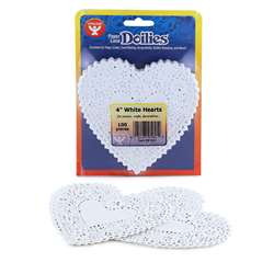 Doilies 4 White Hearts 100/Pk By Hygloss Products
