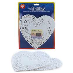 Doilies 6 White Hearts 100/Pk By Hygloss Products