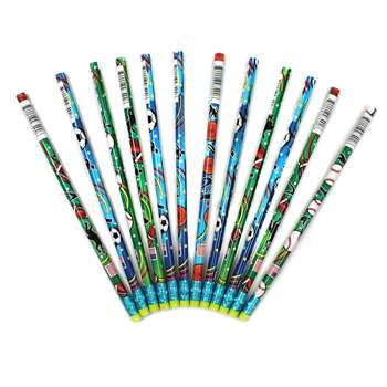 Decorated Pencils Sports Asst By Jr Moon Pencil