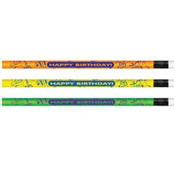 Pencils Neon Happy Birthday 12/Pk By Jr Moon Pencil
