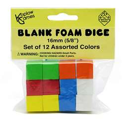 16Mm Foam Dice 12Pk Assorted Color Blank By Koplow Games