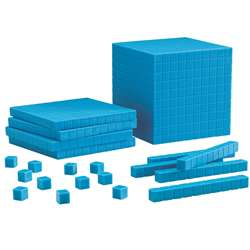 Base Ten Starter Set Plastic Blue 100 Units 30 Rods 10 Flats 1 Cube By Learning Resources