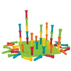 Large Tall-Stacker Peg Set 50 Pegs 11-1/2 100-Hole Board By Lauri
