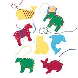 Lacing & Tracing Animals 7/Pk Ages 3-7 By Lauri
