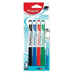 Fine Tip Dry Erase Markers 4/Pk Black/Blue/Red/Gre, MAP741312