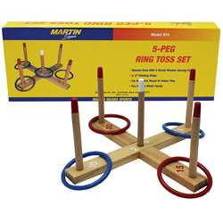 Ring Toss Game 5-Peg Base Wood Pegs 4 Plastic Rings By Dick Martin Sports
