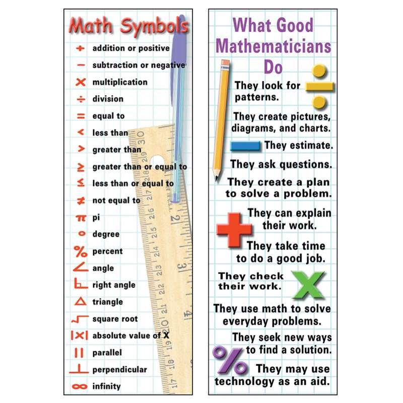 Math Symbols Behaviors Bookmark By Mcdonald Publishing Bookmarks