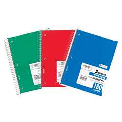 Notebook Spiral 5 Subject 180 Ct 10 1/2 X 8 By Mead Products