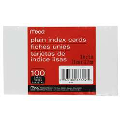 "Cards Index Plain 3"" X 5"" 100 Ct By Mead Products"