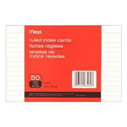 "Cards Index Ruled 4"" X 6"" 50 Ct By Mead Products"