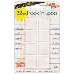 "Hook N Loop 7/8"" Squares 32 Sets, MIL3253W"